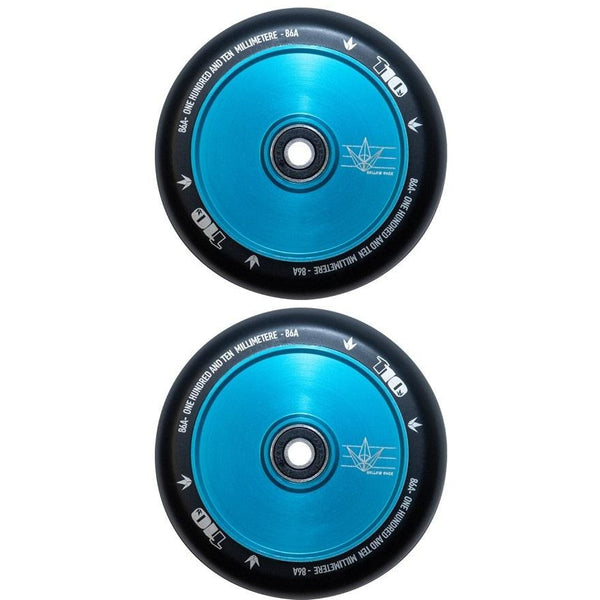 Envy 110mm Wheel Hollow Core Black / Teal (Individual Wheel)