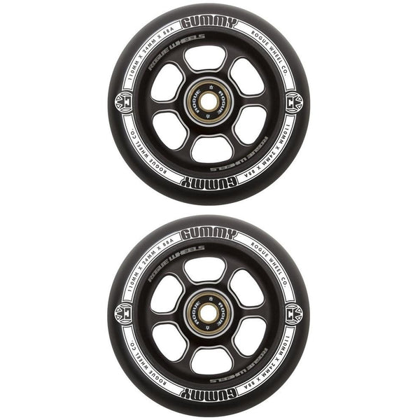 Rogue 110mm Gummy (1 pce) wheels Black/Black (PAIR)