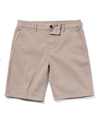 Oceanworks buttons on khaki shorts from Outerknown