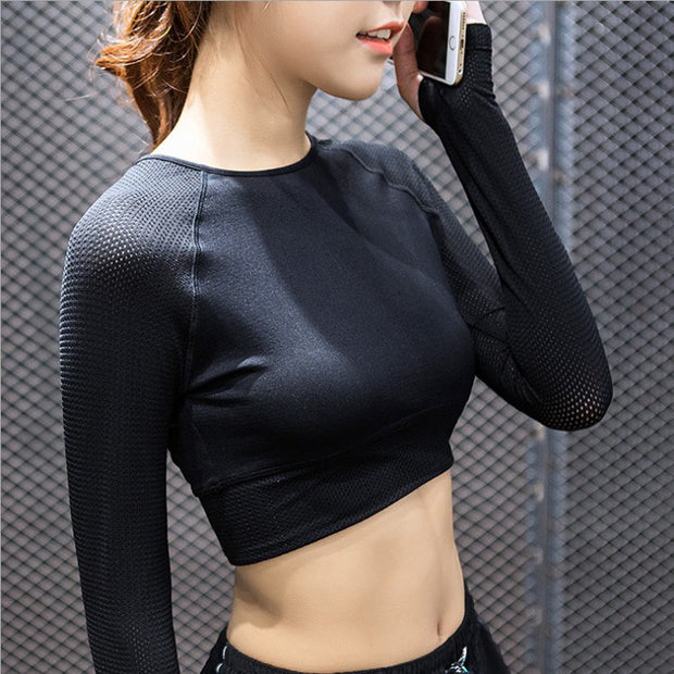 Womens Long Sleeve Mesh Yoga Crop Top