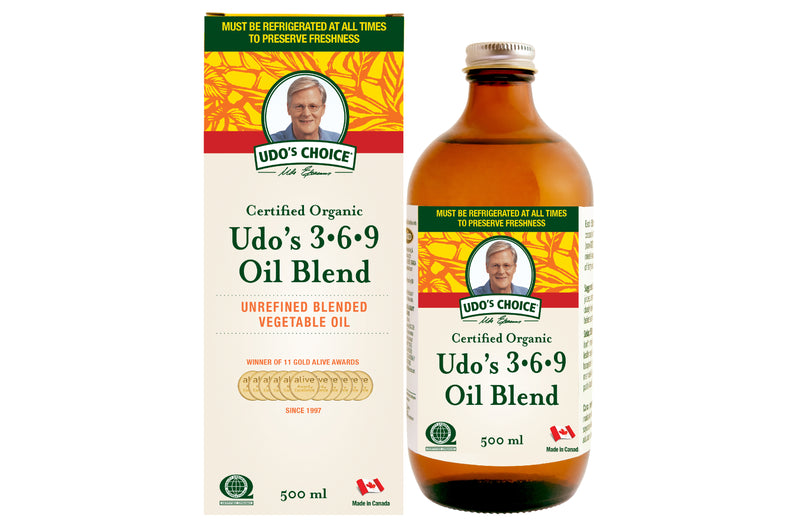 UDO'S 3.6.9 OIL BLEND Malaysia The production of Udo's 3.6.9 Oil Blend  begins with careful selection of raw materials from organic flax, sesame and sunflower seeds, as well as organic coconut, evening primrose, rice bran and oat bran oil.