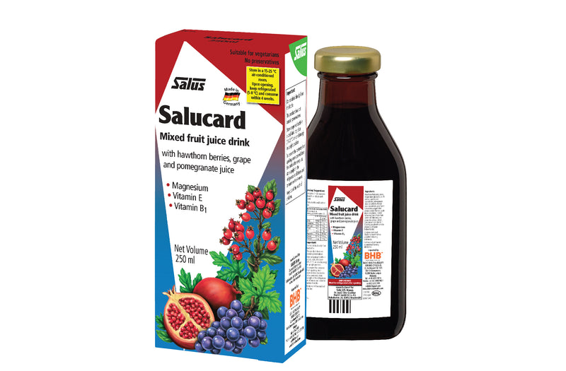 Salucard Malaysia is a mixed fruit juice drink with hawthorn berries and pomegranate juice, high in Vitamin E, Vitamin B1 and Magnesium.
