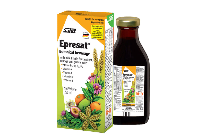 EPRESAT is a botanical beverage with herbal extracts and fruits juices, high in Vitamin B1, B2, B3, B6, Vitamin A, Vitamin C, Vitamin D and Vitamin E.