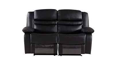 American Eagle Furniture Bayfront Collection Faux Leather Reclining Loveseat with Pillow Top Armrests, Black