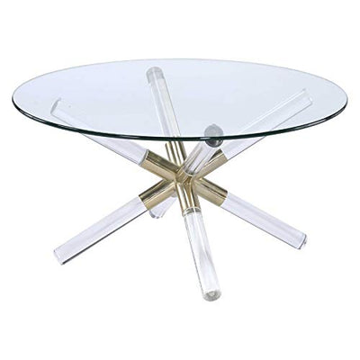 Acme Furniture Kalani Glass Top Coffee Table in Gold Clear Acrylic