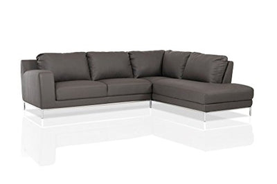 Limari Home The Lorient Collection Modern Eco Leather Upholstered 2 Piece Sectional Sofa for the Living Room With Right Facing Chaise, Dark Gray