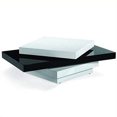 Legacy Commercial Armen Living LCT54COBW Modern Swivel Coffee Table with and Black and White Gloss Finish