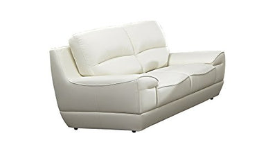 "American Eagle Furniture EK018-W-LS Jackson Mid-Century Modern Italian Leather Living Room Loveseat, 71"", White"