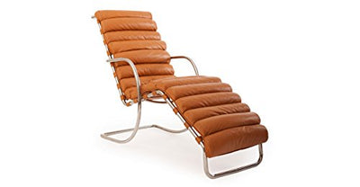 Kardiel Mies Modern Cantilever Arm Chaise Lounge, Canyon Aniline Leather/Stainless Steel