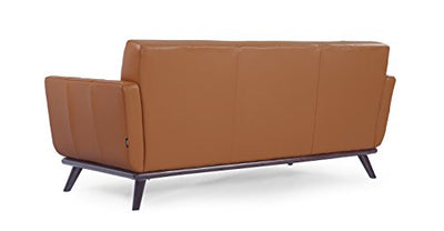 Kardiel Jackie Mid-Century Modern Classic Loveseat, Saddle Brown Aniline Leather