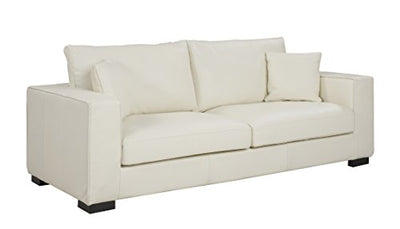 Large Modern Deep Seat Living Room Sofa, Wide Track Arms Leather Match Couch (Off-White)