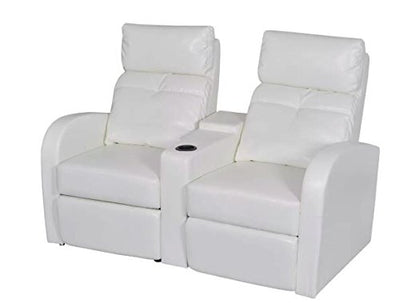 "New White 2-seat Home Cinema Reclining Sofa Feet 59.4"" x 33.5"" x 40.6"" Wooden Frame Leather Upholstery Artificial Leather SKB Family"