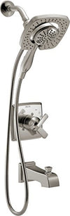 Delta Ashlyn 17 Series Dual-Function Tub and Shower Trim Kit with 2-Spray Touch Clean In2ition 2-in-1 Hand Held Shower Head with Hose, Stainless T17464-SS-I (Valve Not Included)