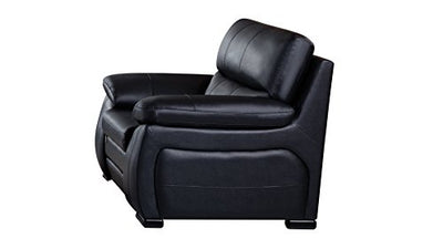 American Eagle Furniture Elmore Collection Contemporary Italian Leather Living Room Chair With Pillow Top Armrests, Black