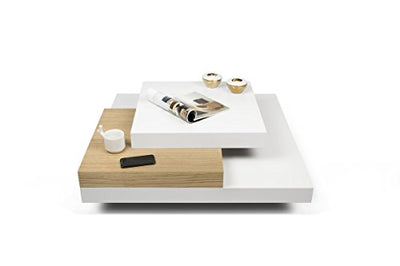 Amazing Coffee Table in Pure White/Oak Color on 3 Levels Made of Oak Manufactured Wood With Gloss Finish