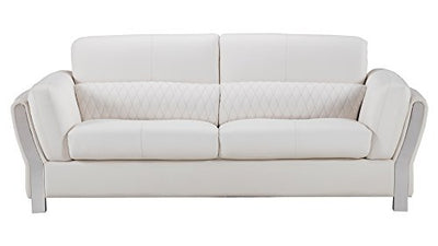 American Eagle Furniture Chelsea Collection Modern Living Room Leather Upholstered Sofa With Tufted Waist, White