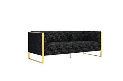 Iconic Home Pompidou Sofa Two-Tone Textured Fabric Couch Sculptural Gold Tone Solid Metal Frame, Modern Contemporary, Black