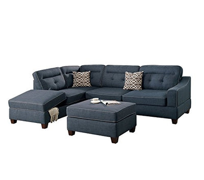 Poundex F6523 Bobkona Kathie Sectional Set, Dark Blue