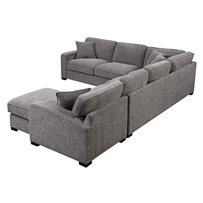 Emerald Home Repose Gray Sectional, with Pillows, Ultra Soft Fabric, Track Arms, And Block Legs