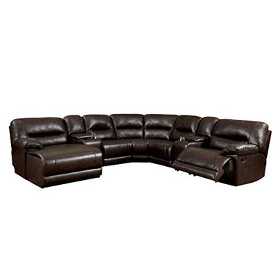 Furniture of America Griffith Corner Sectional Sofa, Brown