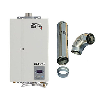 EZ Deluxe Tankless Water Heater - 3.4 GPM - Natural Gas NG - Indoor Whole Home - FREE DIRECT VENT EXHAUST INCLUDED