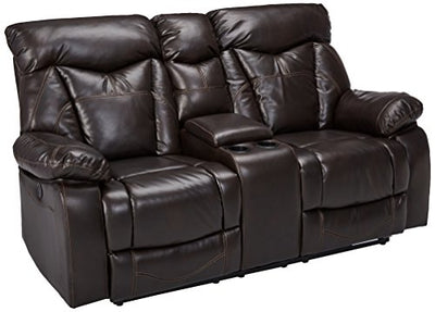 Coaster Zimmerman Casual Dark Brown Faux Leather Power Reclining Love Seat with Cup Holders