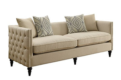 Coaster Claxton Traditional Oatmeal Tuxedo Sofa with Tufting
