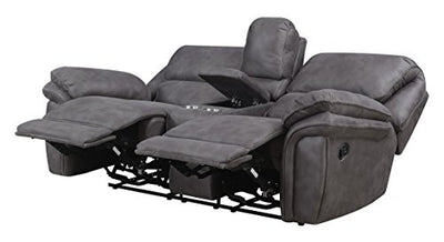 MStar Jackson Lay Flat Dual Reclining Loveseat with Storage Console, USB Charging Ports, AC Outlets and Memory Foam Seat Tops