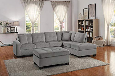 Elburn 3PC Reversible Chaise Sectional & Ottoman in Taupe Fabric