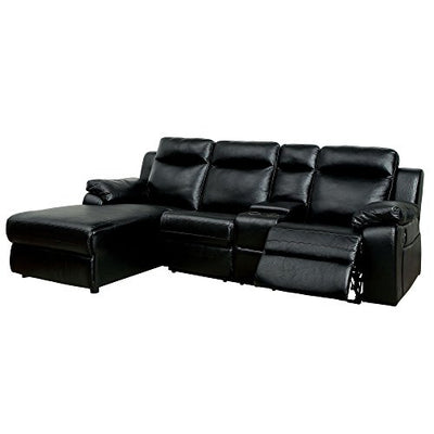 HOMES: Inside + Out IDF-6781BK-SEC Quinn Reclining Sectional, Black