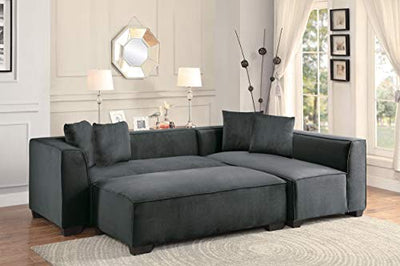 Marks 4PC Sectional Armless Chair, 2 2-Seater/Chaise & Ottoman in Graphite Fabric