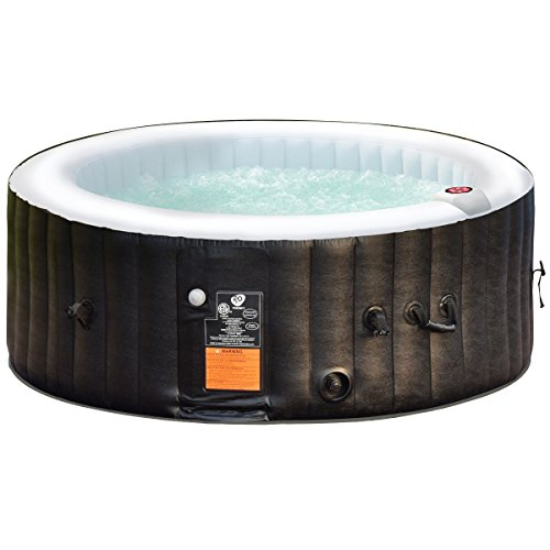 Portable Inflatable Bubble Massage Spa Hot Tub 4 Person Relaxing Outdoor Black