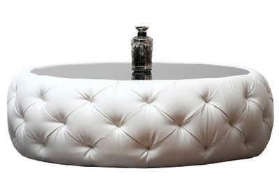 Abbyson® Furrinno Round Leather Coffee Table