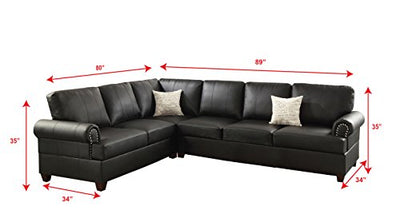 Poundex F7769 Bobkona Cady Bonded Leather Left or Right Hand Reversible Sectional, Black