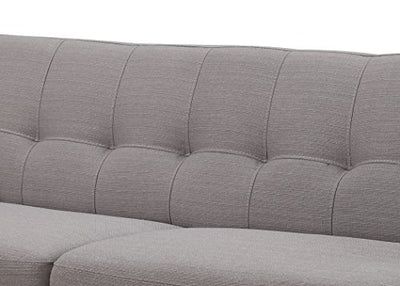 AC Pacific Crystal Collection Upholstered Gray Mid-Century 2-Piece Living Room Set Tufted Sofa Loveseat 4 Accent Pillows, Gray