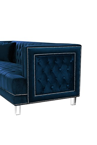 Meridian Furniture 609Navy-L Lucas Button Tufted Velvet Upholstered Loveseat with Square Arms, Silver Nailhead Trim, and Lucite Legs, Navy