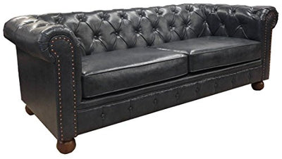 Armen Living LC10603ATBL Winston Sofa in Blue Bonded Leather and Walnut Wood Finish Wood