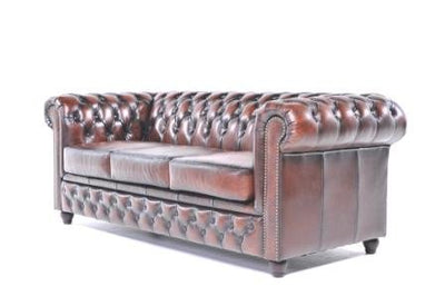 Original Chesterfield Sofa – 3 seater – Full Real Hand Washed Leather – Antique Brown