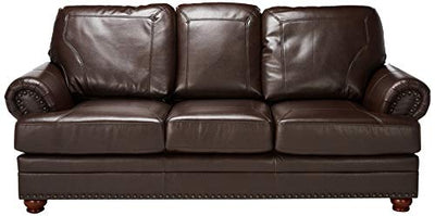 Coaster Colton Traditional Brown Leather Sofa with Elegant Design Style