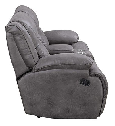 MStar Everly Lay Flat Dual Reclining Loveseat with Storage Console, USB Charging Ports and Memory Foam Seat Topper