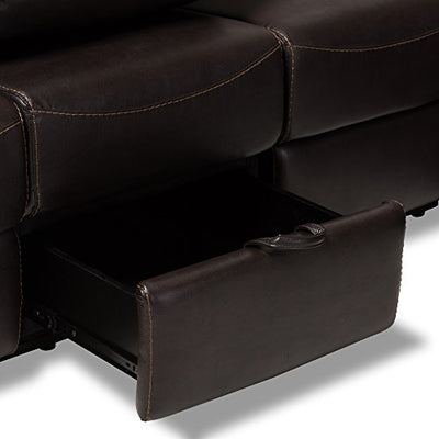 Baxton Studio Roland Modern and Contemporary Dark Brown Faux Leather 2-Piece Sectional with Recliner and Storage Chaise