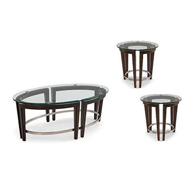 3 Piece Round Coffee and End Table Set in Hazelnut