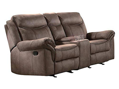 Apollo Double Glider Reclining Love Seat with Center Console and Receptacles in Airehyde Brown Leather