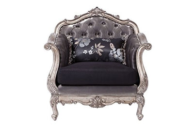 Acme Furniture ACME Chantelle Antique Platinum Chair with Pillow