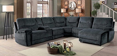 Homelegance Columbus 6 Piece Sectional with Two Reclining Chairs and One Right Side Reclining Chaise, and Center Cup holders Console Fabric, Cobblestone