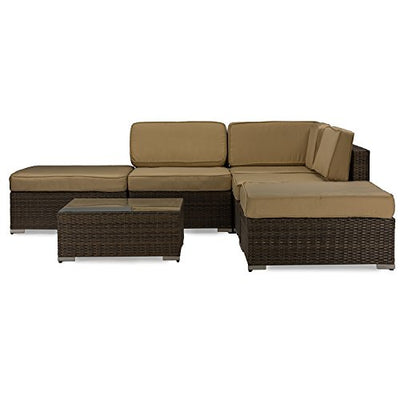 Baxton Studio Owen Lawn Sectional Sofa Set, Brown Wicker/Tan Linen