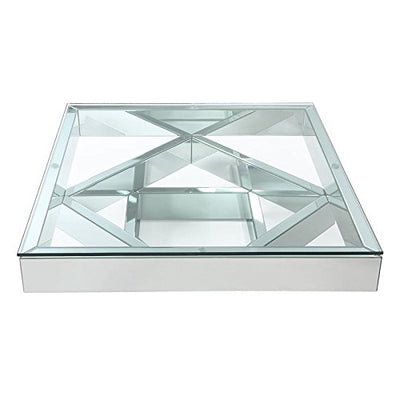 "Acme Meria 40"" Square Glass Top Mirrored Coffee Table"