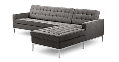 Kardiel Florence Knoll Style Right Sectional Sofa, Cadet Grey Cashmere Wool