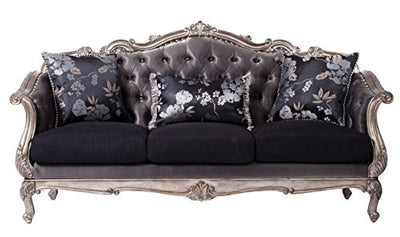 Acme Furniture ACME Chantelle Silver Gray and Antique Platinum Sofa with 3 Pillows