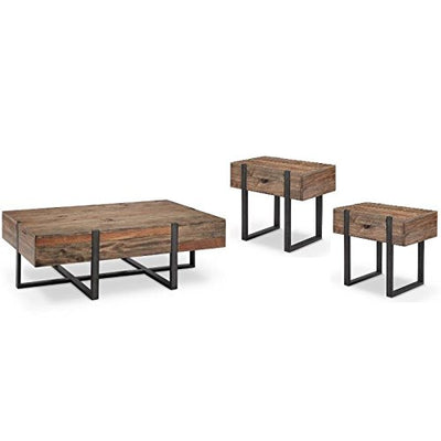 3 Piece Industrial Coffee Table and End Table Set in Rustic Honey
